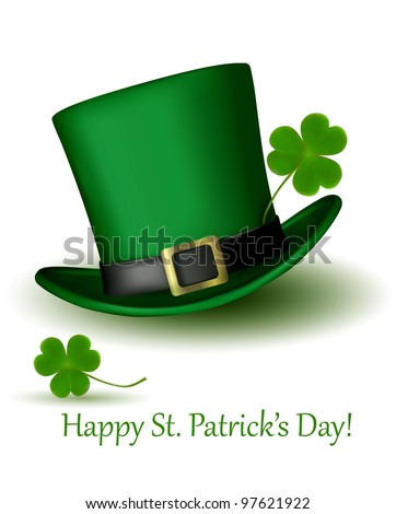 St. Patrick's Day hat with clover. Vector illustration. - stock vector