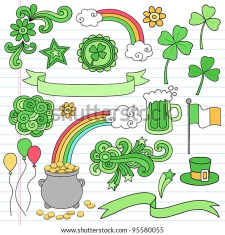St Patrick's Day Icon Set Notebook Doodles Vector Illustration Design Elements on Lined Sketchbook Paper Background - stock vector