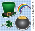 St patrick's day icon set on a plaid background. Vector illustration. - stock photo
