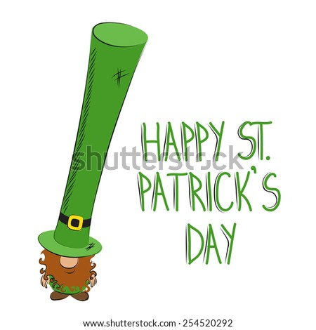 St Patrick's Day leprechaun drawing with long hat - stock vector