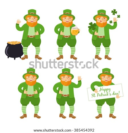 St. Patrick's day. Man with a beer in his hand. Holiday. Isolated illustration on white background. Cartoon character. The pot of gold, clover, banner. Set - stock vector