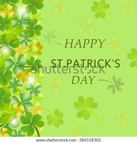 St. Patrick's Day poster with clover and falling coins. Vector illustration