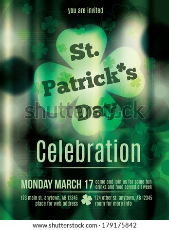 St. Patrick's Day Pub Flyer Template - stock vector