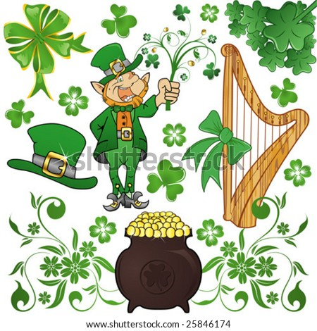 St. Patrick's Day set with clover, leprechaun and cauldron - stock vector