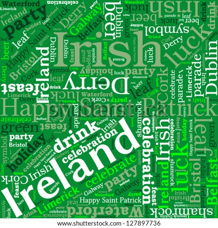 St. Patrick's Day shamrock shaped tag cloud, word cloud concept. Tag cloud text business concept. Word collage. Vector illustration.