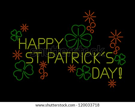 St. Patrick's Day sign in neon with shamrocks and bubbles