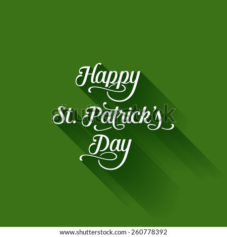St. Patrick's Day Text Long shadow Vintage Calligraphy poster design. Saint Patrick Beer Festival Retro style typography Lettering vector template. - stock vector