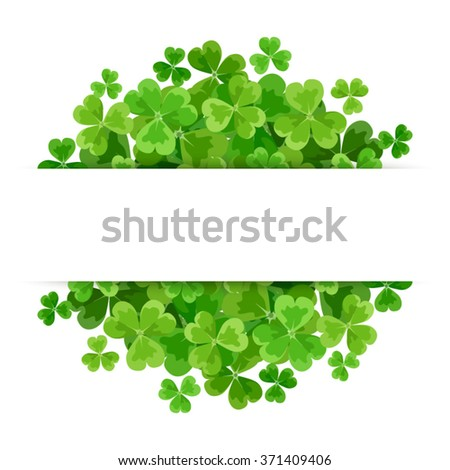 St. Patrick's day vector background with green shamrock. - stock vector
