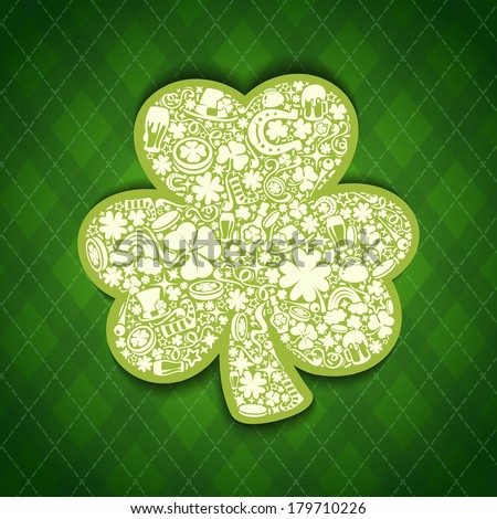 St Patrick's Days card of white objects on irish pattern. Editable pattern in swatches. - stock vector