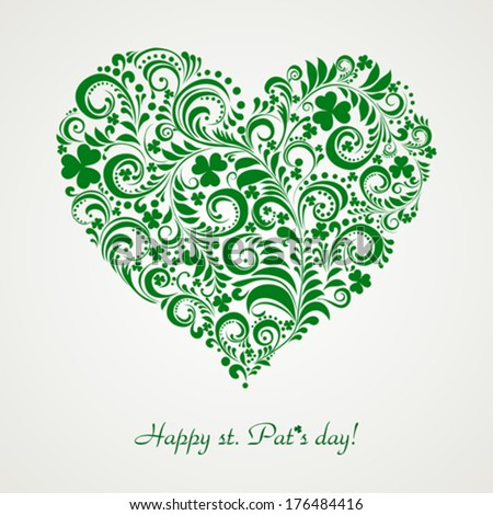 St. Patrick's greeting card. Clovers heart for St. Patrick's Day. Vector Illustration  - stock vector