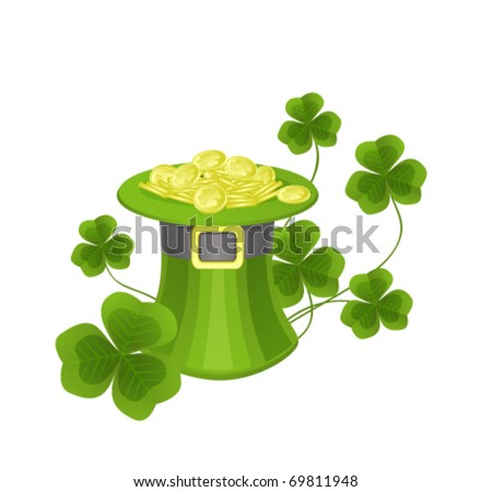 St. Patrick's hat with coins and clovers