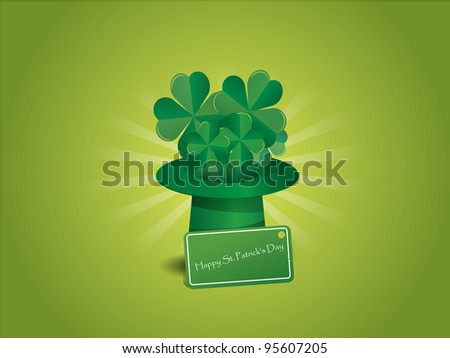 St. Patrick's hat with four-leaf clover and greeting card on green background - stock vector