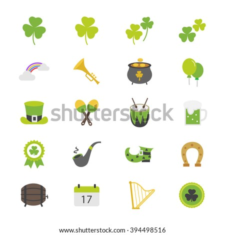 St Patricks Day Flat Color Icons - stock vector