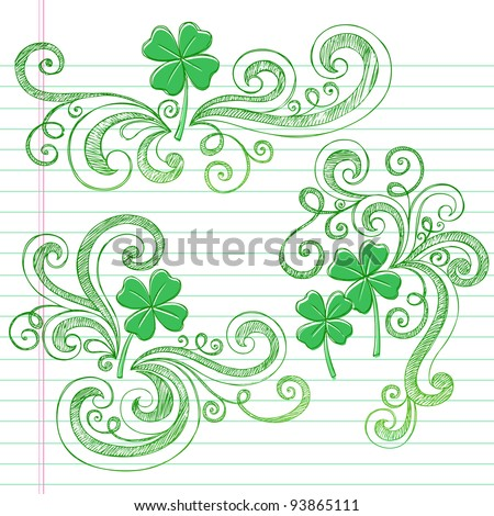 St Patricks Day Four Leaf Clover Sketchy Doodle Shamrocks Back to School Style Notebook Doodles Vector Illustration Design Elements on Lined Sketchbook Paper Background - stock vector
