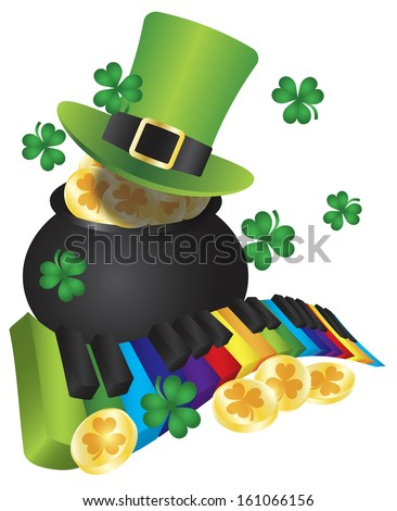 St Patricks Day Leprechaun Hat with Rainbow Colors Piano Wavy Keyboard and Pot of Gold Coins Isolated on White Background Vector Illustration