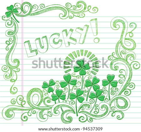 St Patricks Day Lucky Four Leaf Clover Shamrock Sketchy Doodle Back to School Style Notebook Doodles Vector Illustration on Lined Sketchbook Paper Background - stock vector