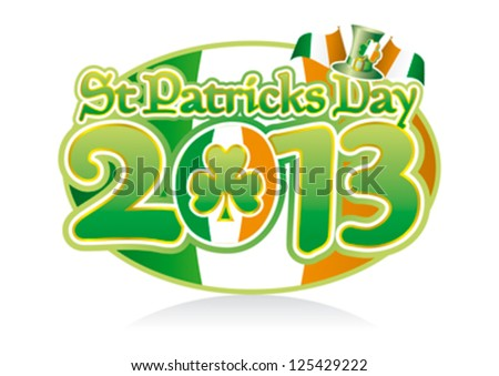 St Patricks Day 2013 Oval Graphic, editable vector. - stock vector