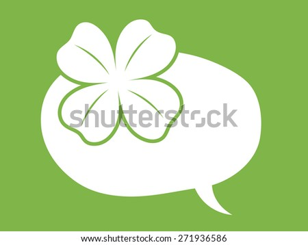st patricks day speech bubble balloon with clover or shamrock leaf depicting luck on green background - stock vector