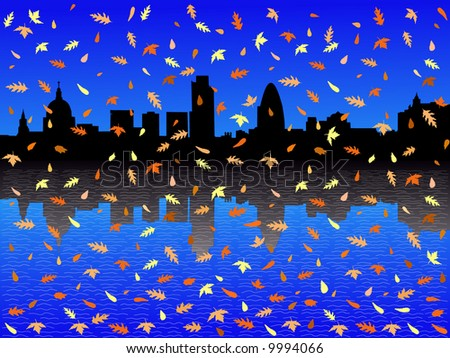 St Paul's cathedral and London skyscrapers in autumn - stock vector