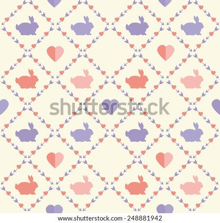 St.Valentine's day bunny rabbit flat style vector seamless pattern/background made in gentle red and violet tints - stock vector