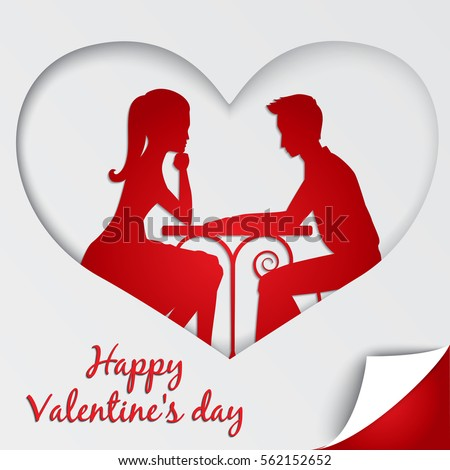 St. Valentine's day greeting card. Couple in love sharing romantic dinner. Paper cutting design