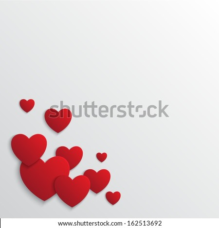 St.Valentine's day red hearts on blank background  - stock vector