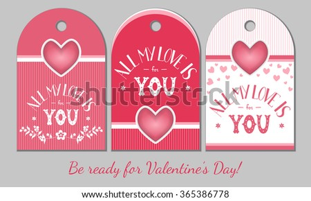 St Valentines Day Present Tags Holiday Stock Vector 365386778 ...