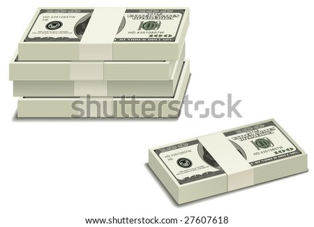 Stack of $100 bills - stock vector