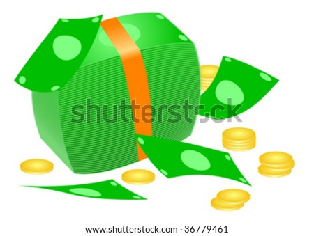 Stack of bills and coins - stock vector