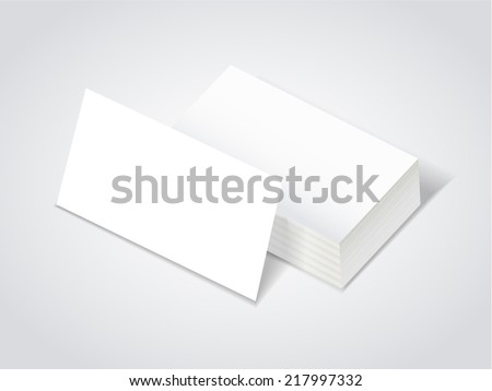stack of blank business card over white