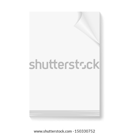 Stack of blank papers with fold corner on front page on white background.