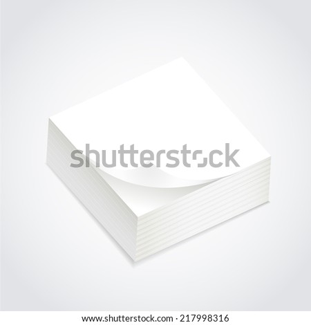 stack of blank post-it over white background
