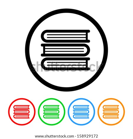 Stack of Books Icon with Color Variations - stock vector
