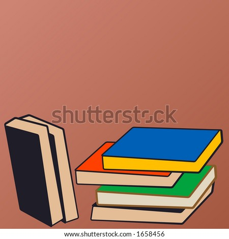 stack of books illustration - stock vector