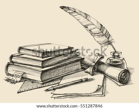 Stack of books, paper, pencil, scroll, quill pen and ink. Diploma, certificate, school, study, writing, literature, library design in vintage style