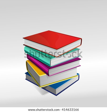 Stack Of Books - Set And Separated. Each single Book is available alone separated from the other if necessary - stock vector