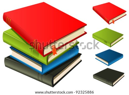 Stack Of Books - Set And Separated/ Illustration of a stack of elegant books with page bookmark. Each single Book is  available alone separated from the other if necessary - stock vector