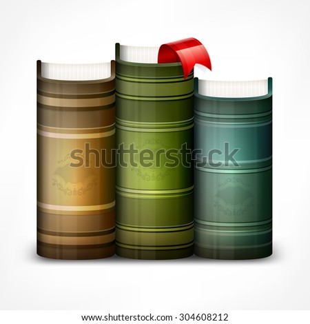 Stack of books with bookmark isolated on white, vector illustration