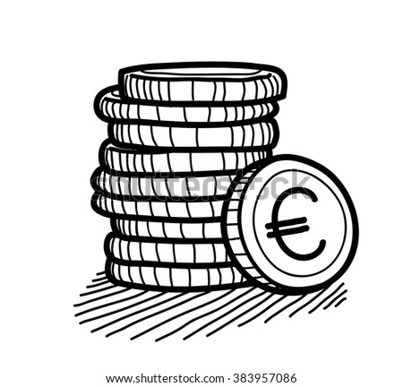 Stack of Coins Doodle (Euro), a hand drawn vector doodle illustration of a stack of gold coins with Euro currency sign on it. - stock vector