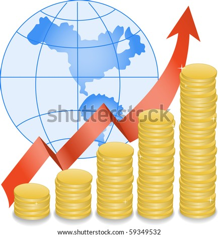 stack of coins in ascending order on a globe - stock vector