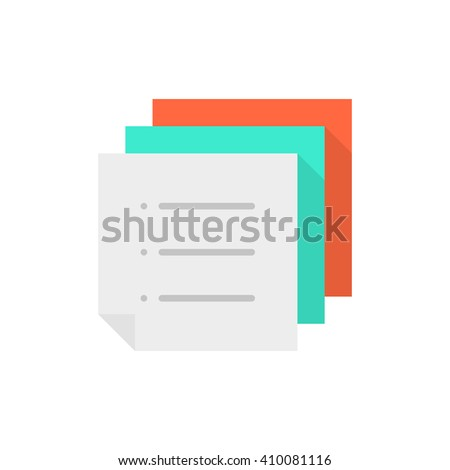 stack of color memo to-do list. concept of work flow, vote, mail ui, menu, doc template, notice, schedule, post. flat style trend modern logo graphic design vector illustration on white background - stock vector