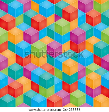 Stack of colorful baby blocks in isometric perspective. Vector seamless 3D background. - stock vector