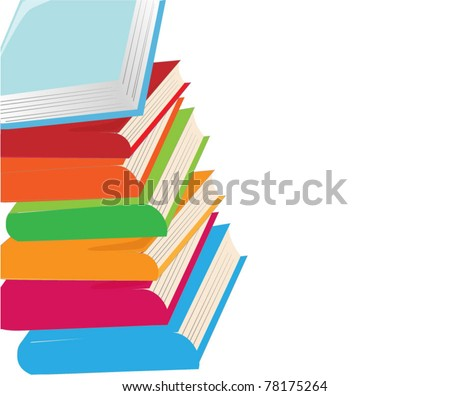 stack of colorful books - stock vector