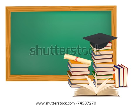 Stack of colorful books and graduation cap. Vector illustration. - stock vector