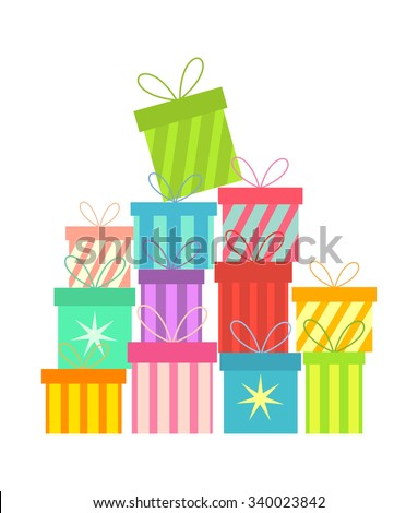 Stack of colorful Christmas presents - stock vector