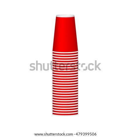 Stack of cups in red design