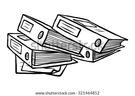 stack of document files / cartoon vector and illustration, black and white, hand drawn, sketch style, isolated on white background. - stock vector