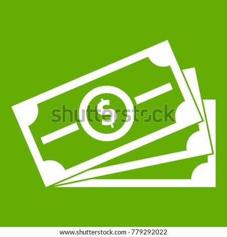 Stack of dollar bills icon white isolated on green background. Vector illustration