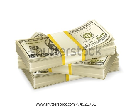 Stack of money, vector - stock vector