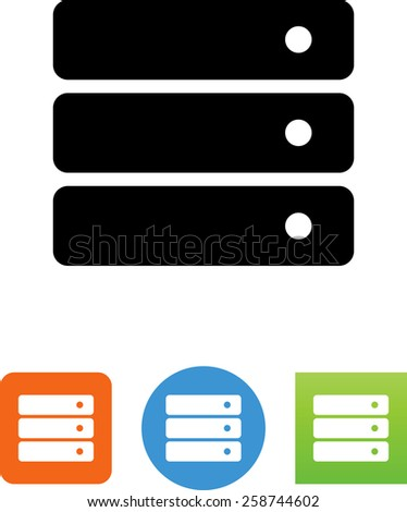 Stack of servers. Vector icons for video, mobile apps, Web sites and print projects.  - stock vector